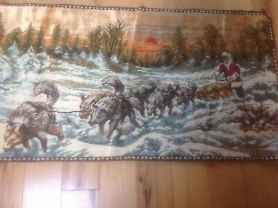 "Vintage Velvet Wall Tapestry Alaskan Dog Sled Team with Driver Size 18""x36"""