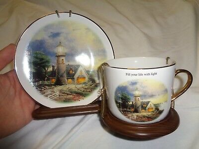 Thomas Kinkade A Light in the Storm 2003 Lighthouse Life Cup & Saucer Set NEW