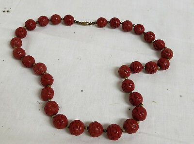 Antique Chinese Carved Molded Cinnabar Bead Necklace Resin Plastic