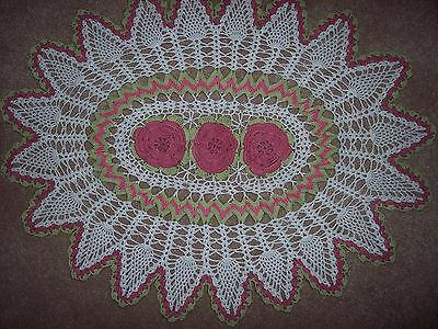 Thread Crocheted Oval Doily  with Rose Raised Roses