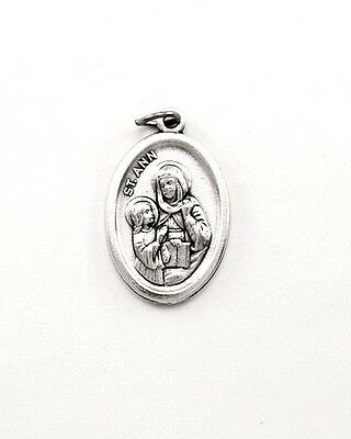 ~St Ann Medallion~Comes With Free 18 Inch Silver Plate Chain~New~Made In Italy~