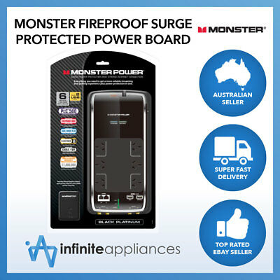 Monster Black Platinum Surge Protected Fireproof Power Board with 6 or 8 Outlets