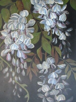 OIL PAINTING / FLOWERS antique WOODEN PANEL garden OLD MASTER style STILL LIFE