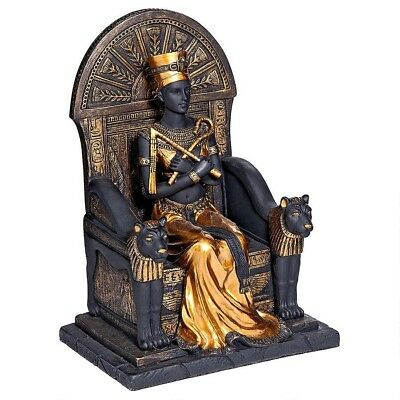 Ancient Egyptian Queen Nefertiti Ruler of Egypt Sitting On Golden Throne Statue