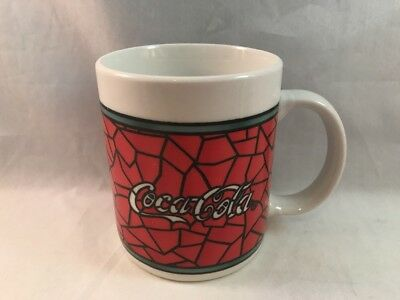Coca Cola Coffee Tea Mug Gibson 1996 Stained Glass Look Red White Black Ceramic