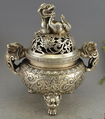 Chinese Tibet Silver Royal Palace Foo Fu Dog Lion Statue incense burner