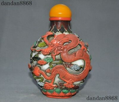 Old Chinese dynasty palace glass glaze Carved Dragon Phoenix statue Snuff bottle