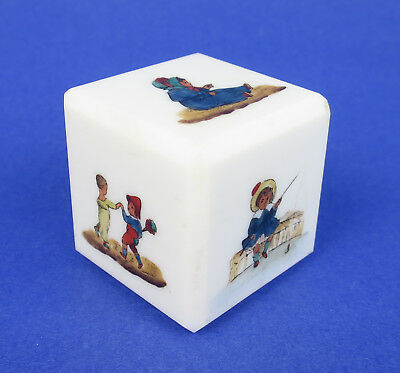 Unusual Opaline Milk Glass Cut & Hand Painted Cube Paperweight Child Toy Block
