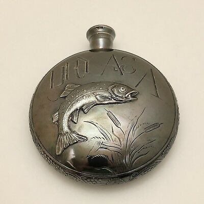 Antique Victorian Aesthetic Trout Fly Sport Fishing Silver Plate Hip Flask