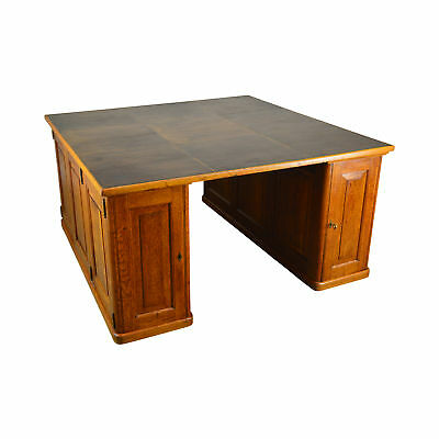 Antique Oak Leather Top Large Partners Desk