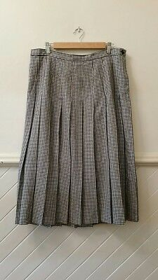 Womens Vintage MIRRORS Melbourne Check Print Pleat Skirt Size 22 Work Corporate
