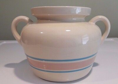 McCoy Vintage 70's Stone Craft Pink Blue Striped Crock with Handles  PT122