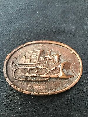 Vintage Bulldozers Old Brass Belt Buckle From A Buckle Collection