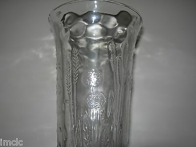 Vintage GLASS VASE eapg~EMBOSSED with FLOWER GARDEN-11 Plant types