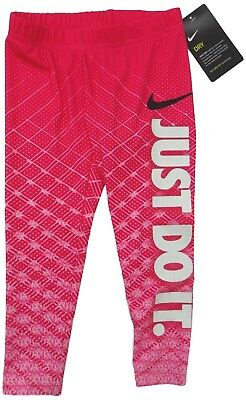 NIKE girl DRI-FIT LEGGINGS 3/4Y rush pink JUST DO IT glitter leg (104) BNWT