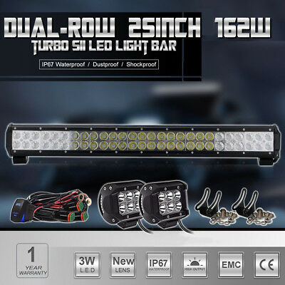 """25""""Inch 162W LED Light Bar Spot Flood FOR Offroad 4WD JEEP DODGE Driving Lamp 24"""