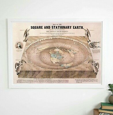 Flat Earth Map - Map of the Square and Stationary Earth - A1 poster