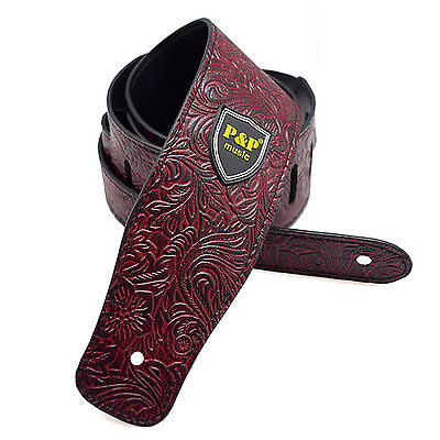 Guitar Strap PU Leather Embossed Alligator Acoustic Electric Bass,Wine Red