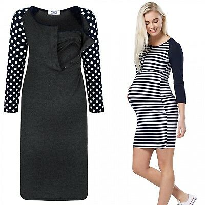 Happy Mama. Women's Maternity Nursing Dress 3/4 Sleeves Buttoned Crew Neck. 155p