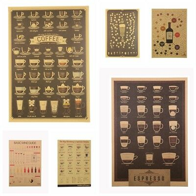 Bar Decoration Coffee Vintage Picture Wall Sticker Retro Poster Kraft Paper