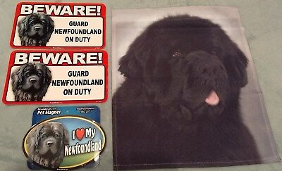 Newfoundland Garden Flag Love Magnet &  2 Beware Signs LOT OF 4 NEW Dog Items