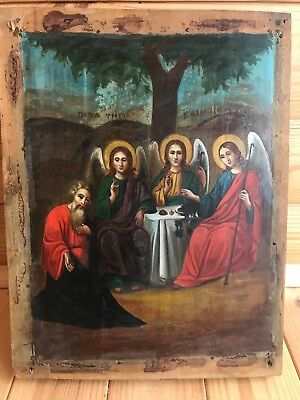 """Antique 18c Russian Orthodox Hand Painted Wood Icon """"The Holy Trinity"""""""