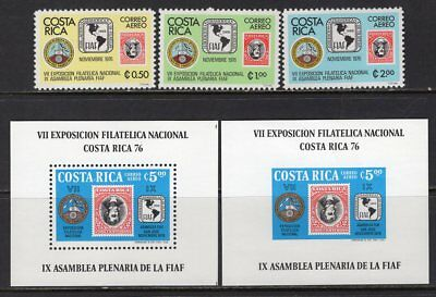 Costa Rica 1976 Stamp on Stamp Set of 3 + Perf & Imperf Souvenir Sheets MNH