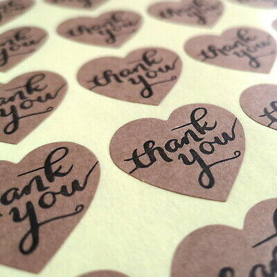 "50 Thank You Stickers 35mm (1.5"") Heart Birthday Wedding Mothers *FREE POSTAGE*"