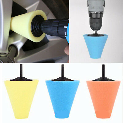 Polishing Foam Sponge Cone Metal Pad Car Wheel Hub Care Polish Buffing 90mm