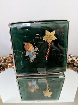 Vintage Have A Heavenly Holiday Ornament-Angel with Star Kite-Hong Kong-Enesco