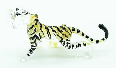 Figurine Animal Miniature Hand Blown Glass Yellow Tiger - GPTG008