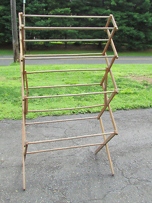 Large Antique Primitive Wooden Folding Drying Rack Clothes Quilts Herbs Sturdy