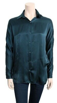 450b728eace48f  240 NWOT VINCE Womens Gray Silk Covered Placket Blouse Size 6 ...