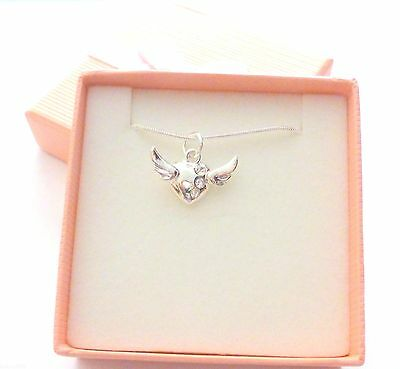 SP Guardian Angel Winged Heart Necklace with 3 crystals SP Snake chain Gift Box
