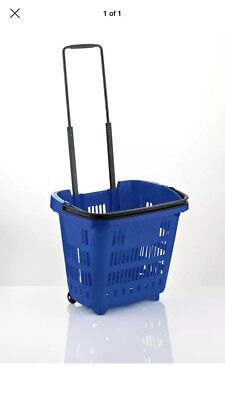 "5 x Plastic Shopping Trolley Basket (34L) Blue.  ""Shop & Roll"",Top Quality."
