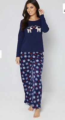 4e1be9f391 New Studio Pyjamas In A Bag Christmas Navy Reindeer Size L 16-18 RRP £