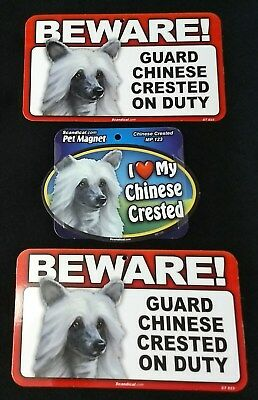 Chinese Crested Love Magnet & 2 Beware Signs LOT OF 3 NEW Dog Gift Items