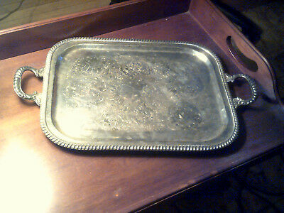 """Lovely Vintage Ornate Silverplate Serving Tray Handled and Footed 23"""""""