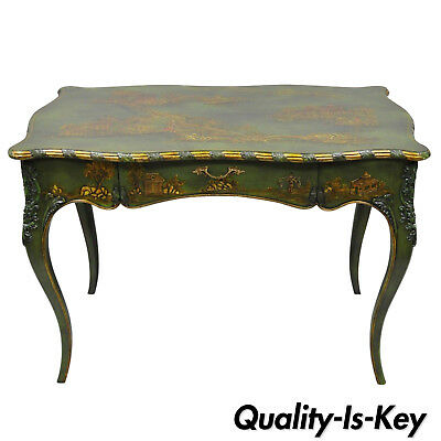 Maitland Smith Green Hand Painted Chinoiserie French Louis XV Style Desk