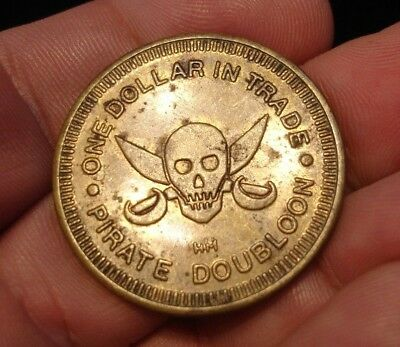 old dolphin PIRATE SKULL Good For $1 trade token Rotary coin Placida FL Nautical