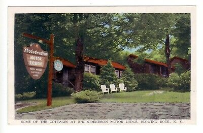 Vintage Postcard of Cottages at Rhododendron Motor Lodge Blowing Rock, NC