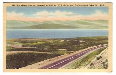 Vintage Postcard of Strawberry Pass and Reservoir near Duchesne & Heber City, UT