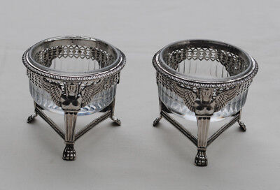 PAIRE DE SALERONS ARGENT MASSIF 2ème COQ PARIS 1809 Sterling Silver Salt Cellars
