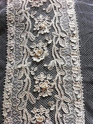 """Late 19c Early 20c cream lace fabric approx 32"""""""