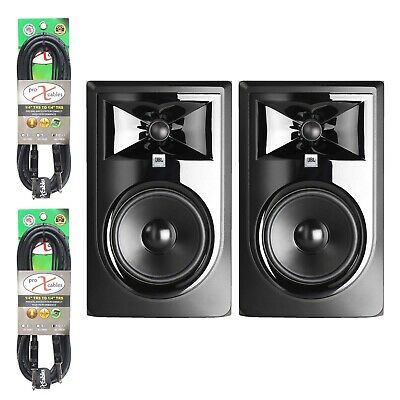"""JBL 306P MkII 6"""" Powered Studio Recording Monitor Speakers + TRS Cables"""