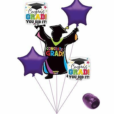 (purple) - Congrats Grad You Did It Colourful School Colours Graduation 6pc