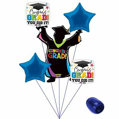 (blue) - Congrats Grad You Did It Colourful School Colours Graduation 6pc