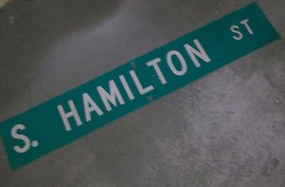 "LARGE Original~ S. HAMILTON ST Street Sign 54"" X 9"" White Lettering on Green"