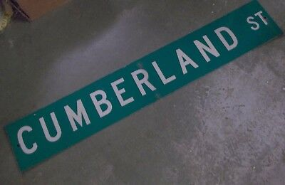 "LARGE Original~ CUMBERLAND ST Street Sign 54"" X 9"" White Lettering on Green"