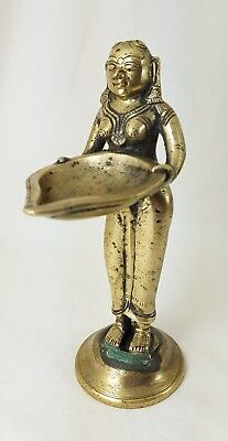 Antique Brass Indian Oil Lamp In Form Of A Goddess